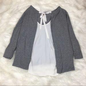 LOFT tie back 3/4 sleeve sweater blouse